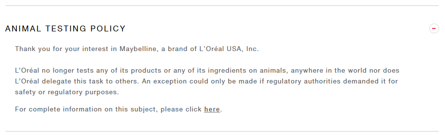 Clever word play in the Maybelline animal testing policy can't distract from the fact that they allow animal testing